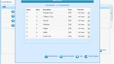 Catering menu module