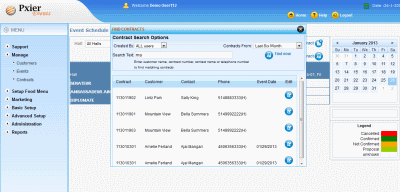 Banquet software scheduler screen