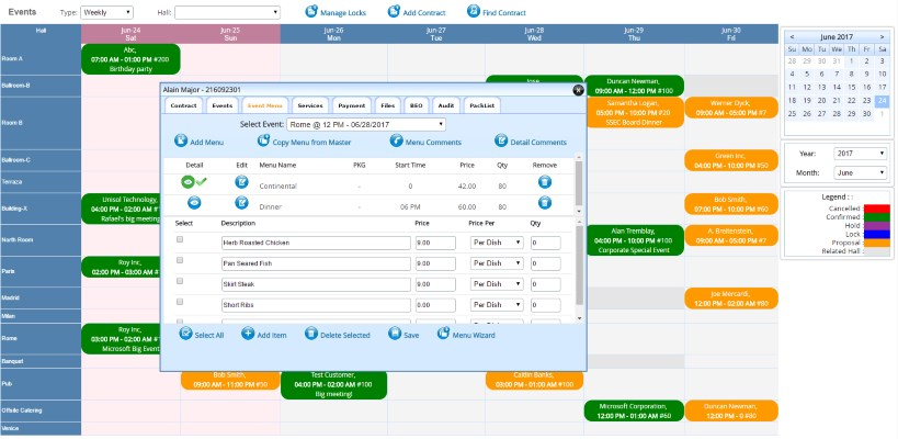 Event booking software screen