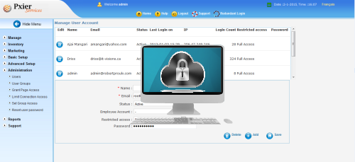salon software secure web access page