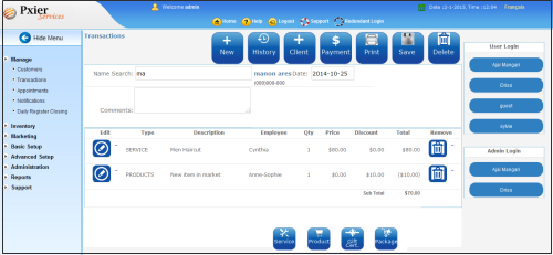 salon software transaction management page